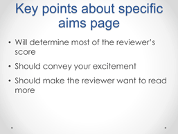 screencapture of a powerpoint presentation focused on how to write your Specific Aims section (Part 2)